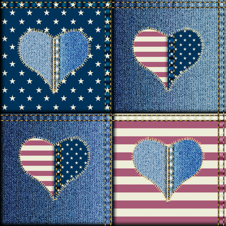 heats: Seamless background pattern. Patchwork with heats and American flag symbols.