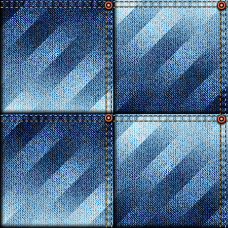 denim fabric: Seamless background pattern. Patchwork of denim fabric with the strips Illustration