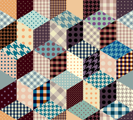 strip design: Seamless abstract background in patchwork style and imitation of a cubes