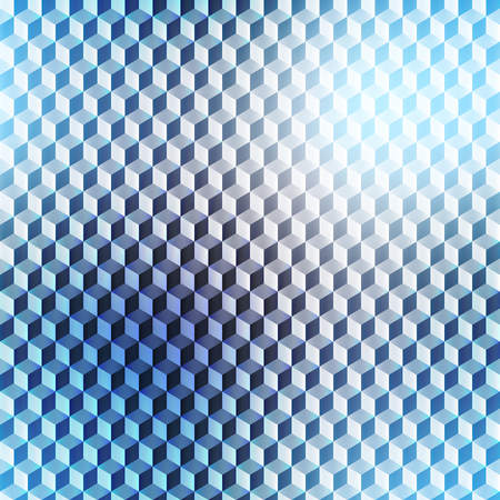 Abstract composition, futuristic technology, blurred seamless cubes pattern