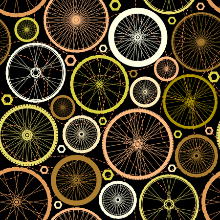 velocipede: Seamless background pattern. Pattern of bicycle wheels. Illustration