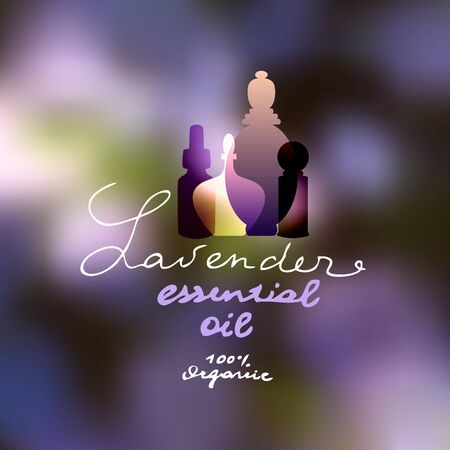 essential oil: Original lettering Lavender, Essential oil, Organic on violet blurred background.