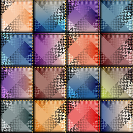 patchwork pattern: Seamless background pattern. Patchwork of plaid fabric.