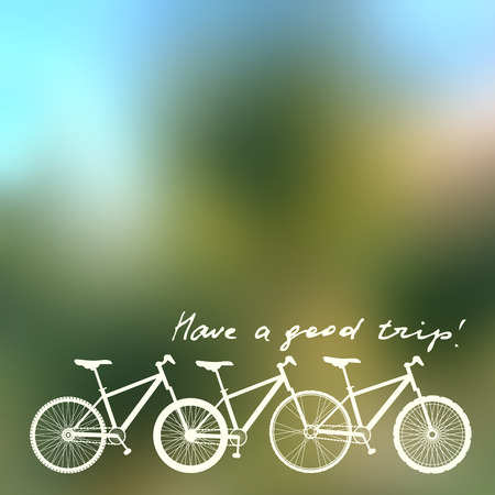 locomotion: Blurred background with unusual bicycle and lettering Have a good trip