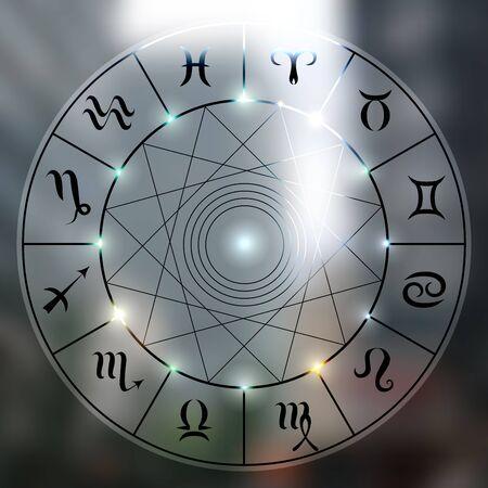 soothsayer: círculo mágico con zodiacs la muestra en la foto borrosa de la ciudad.
