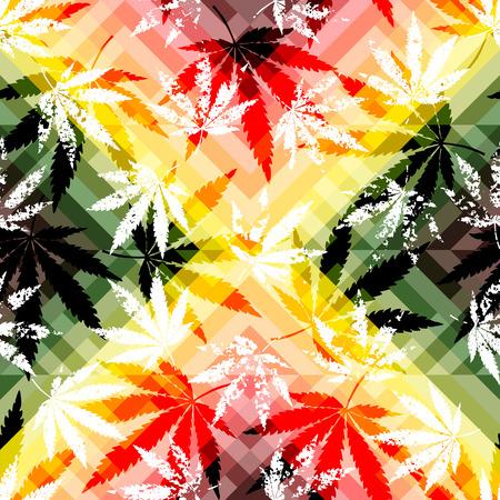 Seamless background pattern. Rastafarian colors pattern and grunge hemp leaves. Illustration
