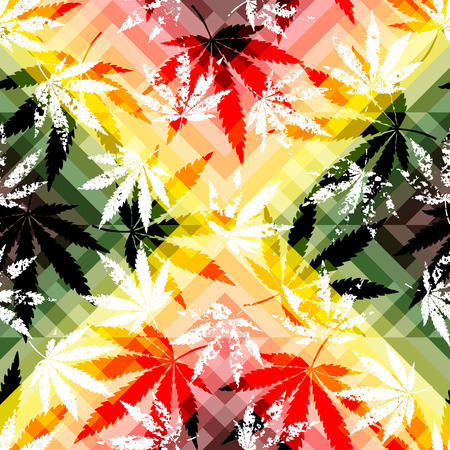 Seamless background pattern. Rastafarian colors pattern and grunge hemp leaves. Illustration