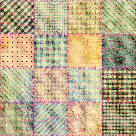 patchwork: Seamless background pattern. Patchwork of grunge fabric. Illustration