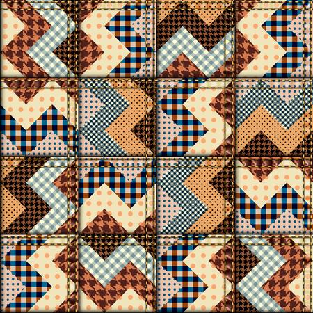 Seamless background pattern. Patchwork of chevron fabric.