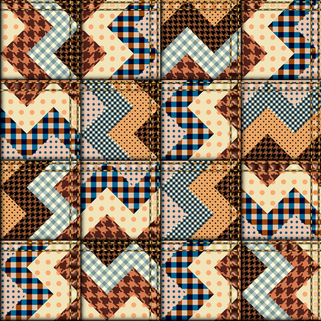 Seamless background pattern. Patchwork of chevron fabric.