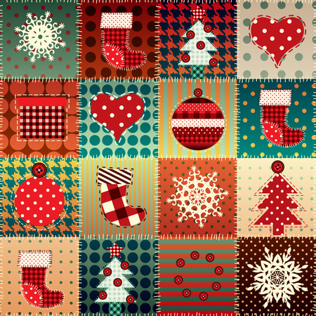 Seamless background pattern. Christmas background in patchwork style.  イラスト・ベクター素材