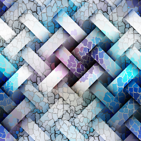 interweaving: Seamless background pattern. Diagonal plaid pattern with a interweaving effect and cracks Illustration