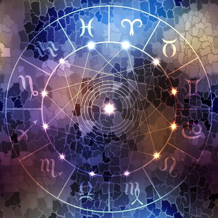 soothsayer: Circle with signs of zodiac on dark blue blur background.