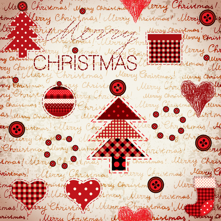 Seamless background pattern. Merry Christmas lettering on a grunge retro background