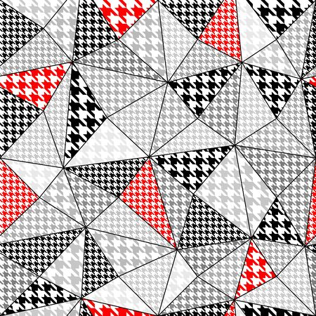 houndstooth: Background in a patchwork style with a houndstooth pattern. Seamless pattern. Illustration