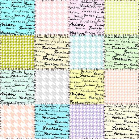 houndstooth: Collage with the lettering of Fashion and houndstooth pattern. Seamless pattern.
