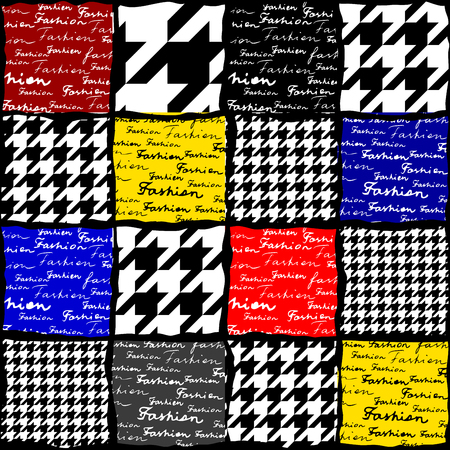 Collage with the lettering of Fashion and houndstooth pattern. Seamless pattern.