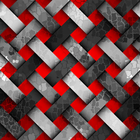 cracks: Seamless background pattern. Diagonal plaid pattern with a interweaving effect and cracks Illustration