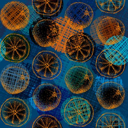 azul marino: Diseño de fondo transparente. Bocetos de una naranja sobre un fondo azul marino del grunge