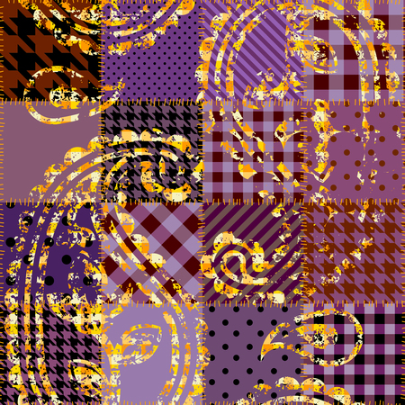 Seamless background pattern. Purple patchwork with ornament