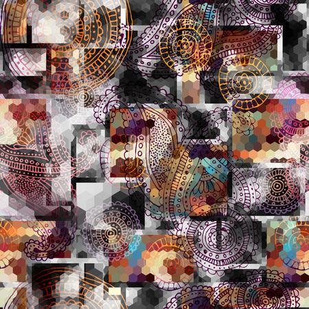 Seamless background pattern. Grunge pattern with a grunge ornament.
