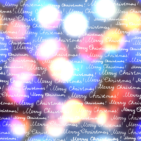 Seamless background pattern. Merry Christmas lettering on a glow circles blurred background