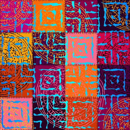 magenta: Seamless background pattern. Magenta patchwork with ornament Illustration