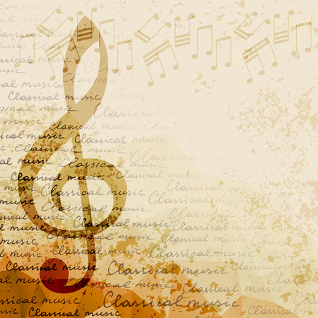 Treble clef and notes on blurred background. Classical music background Vectores