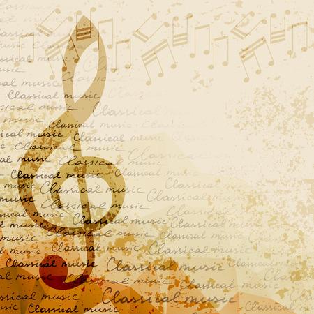 G-sleutel en nota's over onscherpe achtergrond. Klassieke muziek achtergrond Stockfoto - 67249627
