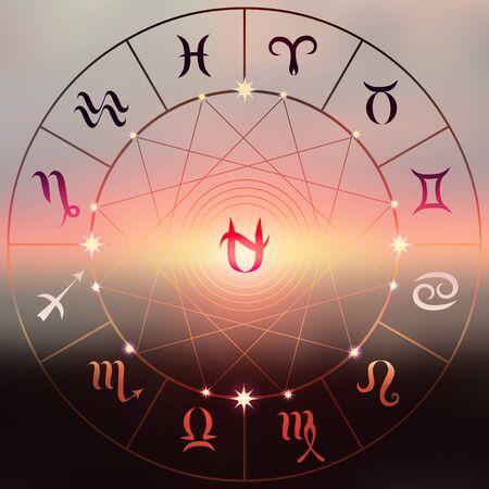 soothsayer: Círculo con los signos del zodiaco en un fondo de la puesta del sol desenfoque. Signo de Ofiuco en el centro. Vectores