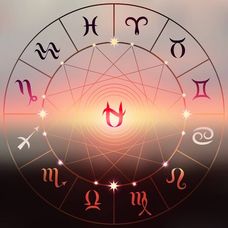 soothsayer: Circle with signs of zodiac on a sunset blur background. Sign of Ophiuchus in center. Illustration