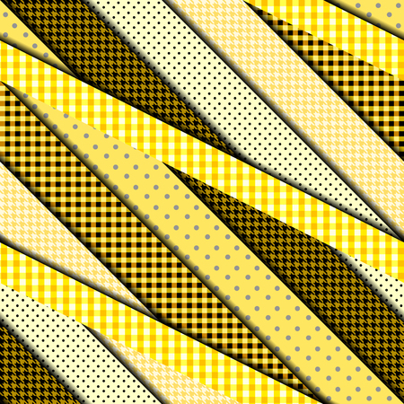 Seamless background pattern. Diagonal strips pattern in a trendy material design style. Yellow patchwork