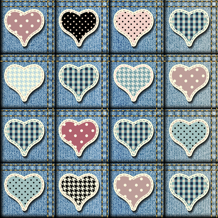 Seamless background pattern. Patchwork of denim fabric with the hearts. Illustration