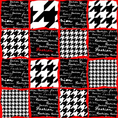 houndstooth: Collage with the lettering of Fashion and houndstooth pattern. Seamless background Illustration