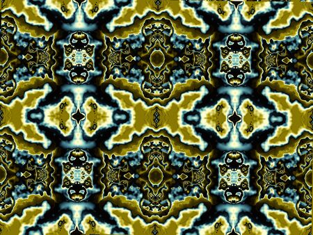 Horizontal abstract background. May be used as desktop background. Symmetry ornament in digital art style. Stock Photo
