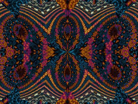 psychedelic background: Geometrical abstract pattern. Symmetric ornamental psychedelic background