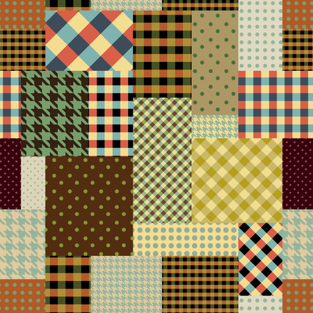 Seamless background pattern. Brown retro patchwork of a rectangles