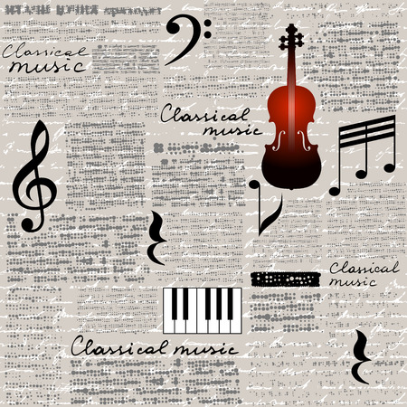 Seamless background pattern. Imitation of a newspaper with a Classical music lettering.