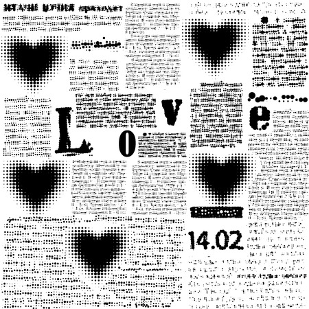 Halftone hearts newspapers Illustration