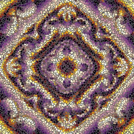 Seamless background pattern. Decorative symmetric mosaic pattern.