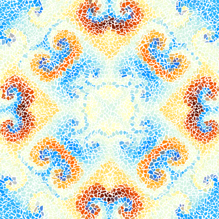 Seamless background pattern. Decorative symmetric mosaic pattern. Gamma of pastel colors. Illustration