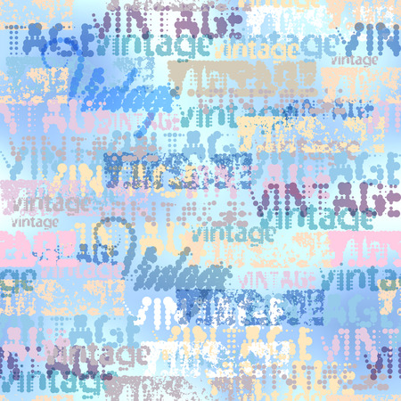 old newspaper: Seamless background pattern. Halftone grunge blue pattern with a Vintage words.