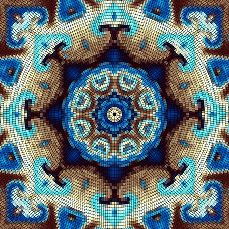 Seamless background pattern. Decorative round mosaic art pattern on black background.