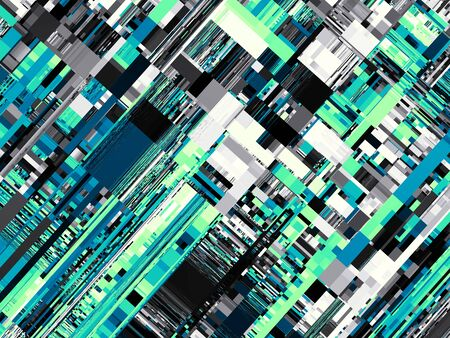 stripping: Abstract image in futuristic technology style. Horizontal green geometric background.