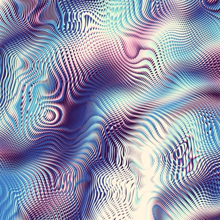 Blur wavy background. Abstract futuristic fractal image. Glass and reflect imitation.
