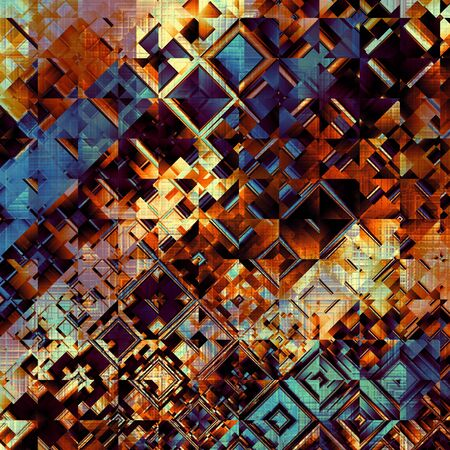 glitch: Square grunge texture. Geometric abstract background of the squares and grunge effect. Stock Photo