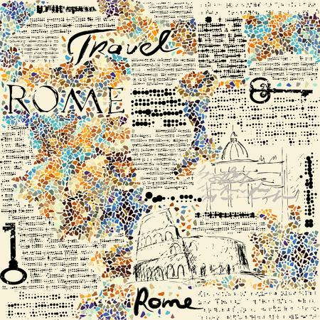 레트로 신문 배경 모방 로마 여행입니다. 원활한 패턴입니다. 일러스트