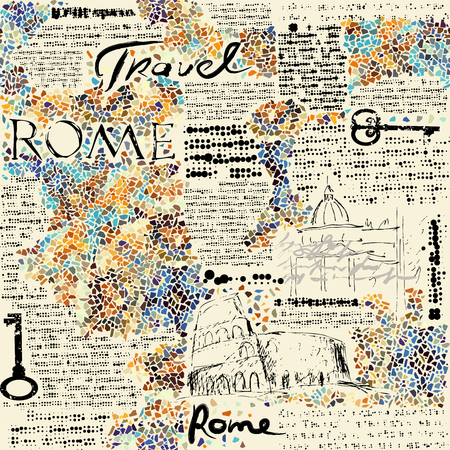 Imitation of retro newspaper background Rome travel. Seamless pattern.