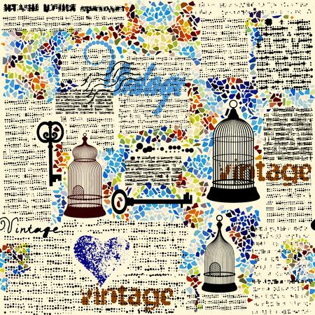Motif de fond sans couture. Rétro motif de demi-teinte grunge avec un mots Vintage. Banque d'images - 81167292