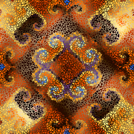 Seamless background pattern. Decorative symmetric mosaic art pattern.